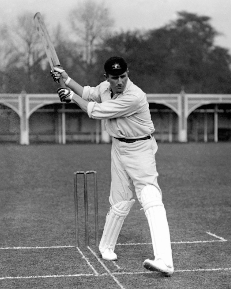 Monty Noble working on cricket stance