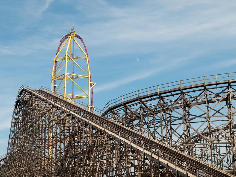 Roller coaster with moon at Cedar Point, Sandusky, Ohio