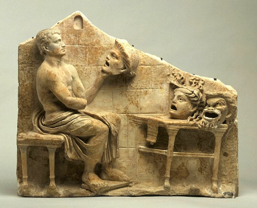 Relief of a Seated Poet With Masks of New Comedy