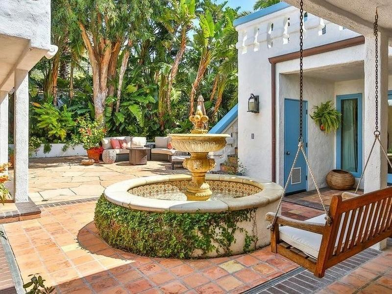 Golden fountain in courtyard