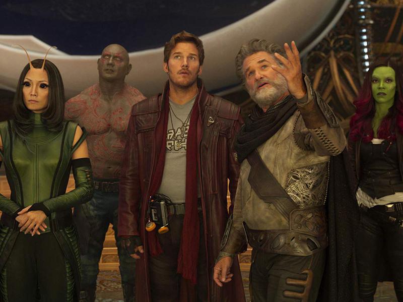 Kurt Russell, Chris Pratt, Zoe Saldana, Dave Bautista, and Pom Klementieff in Guardians of the Galaxy Vol. 2 (2017)