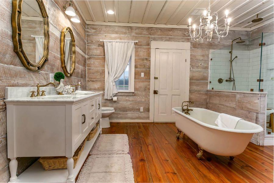 Bathroom with shiplap walls