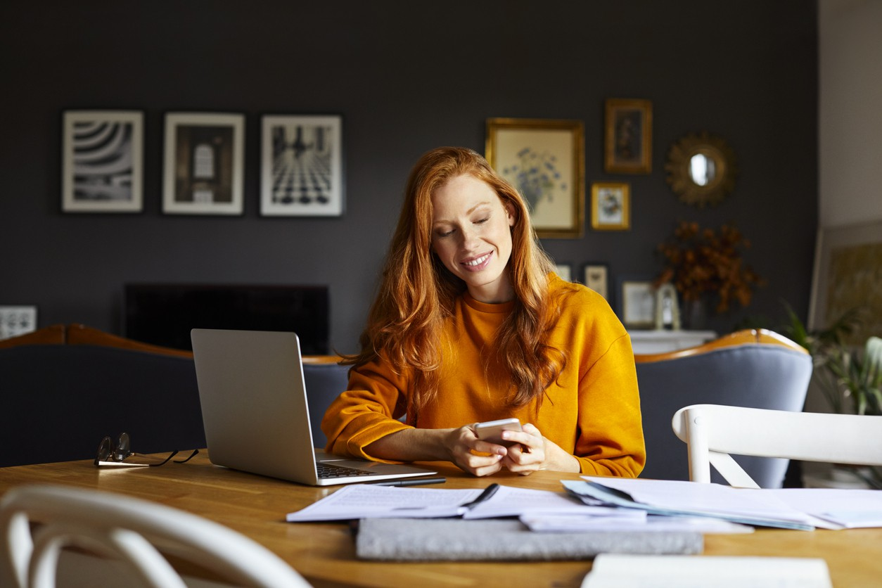 Woman bookkeeper working from home