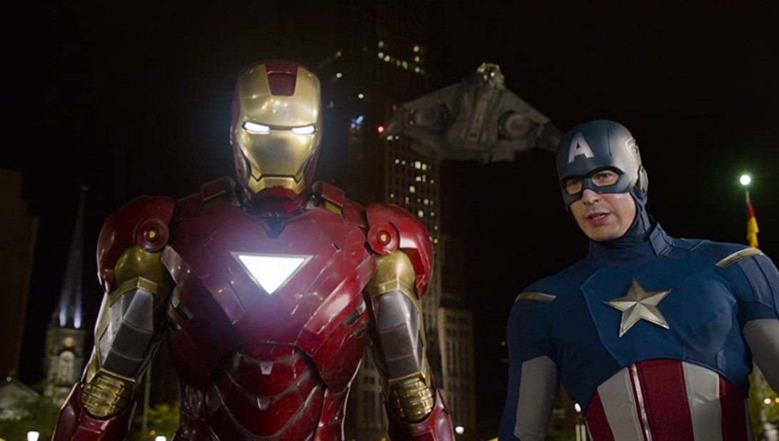 Robert Downey Jr. and Chris Evans in The Avengers