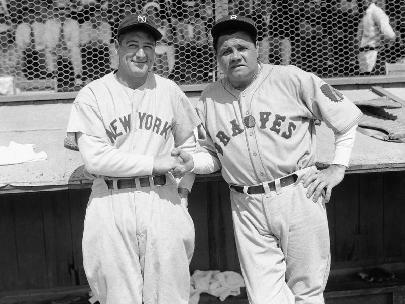 Babe Ruth and Lou Gehrig pose together at a spring training game