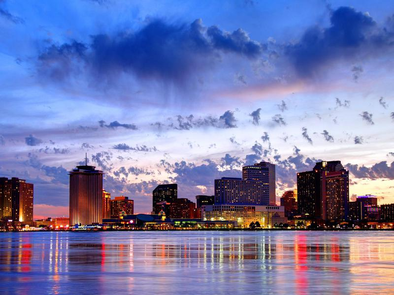 Downtown New Orleans Louisiana skyline along the Mississippi River