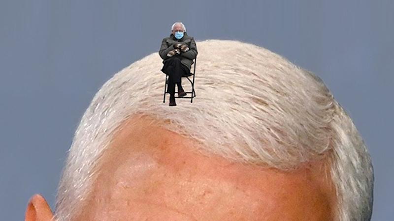 Bernie Sanders on Mike Pence's head