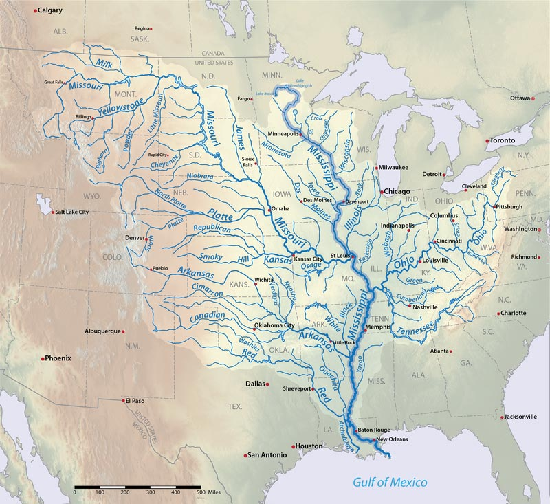 Map of the Mississippi River Basin