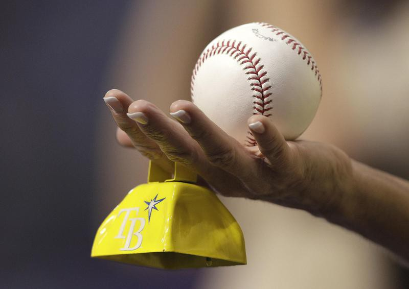 Tampa Bay Rays fan holds a baseball and cowbell