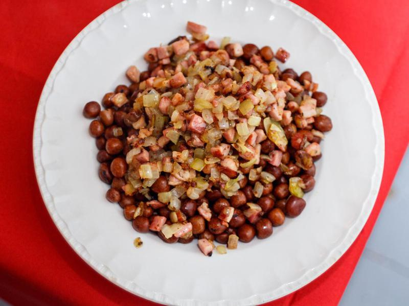 Grey peas with bacon and onions Latvian-style. Traditional national dish for Christmas in Latvia, eastern Europe