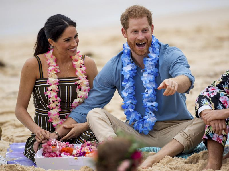 Meghan and Harry at the beach