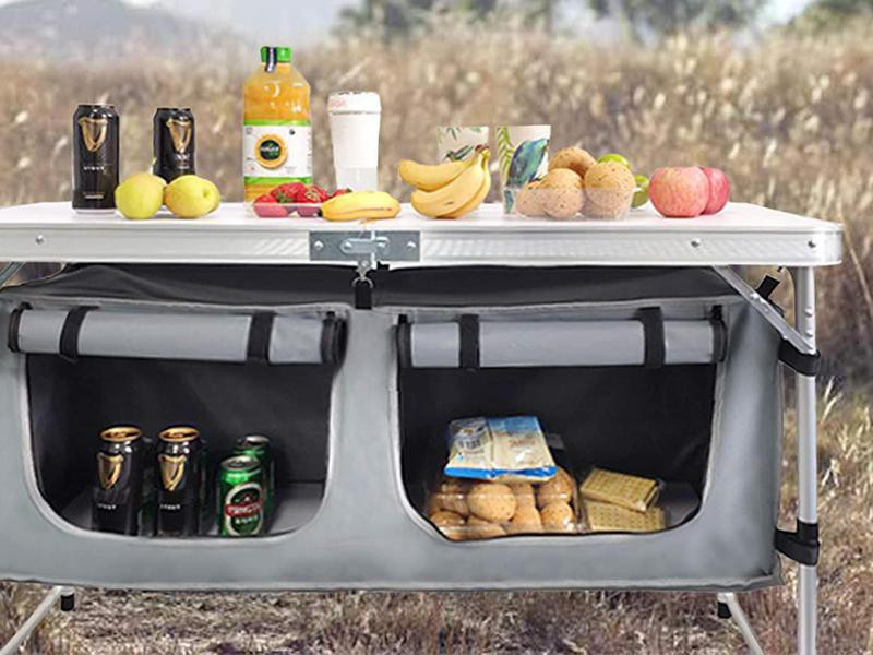Camping table with storage