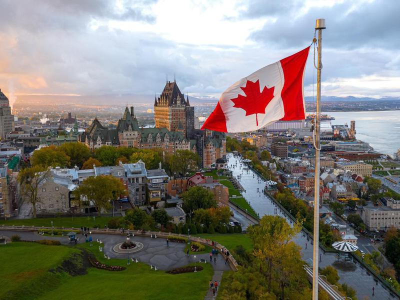 Canadian flag flying over Old Quebec City