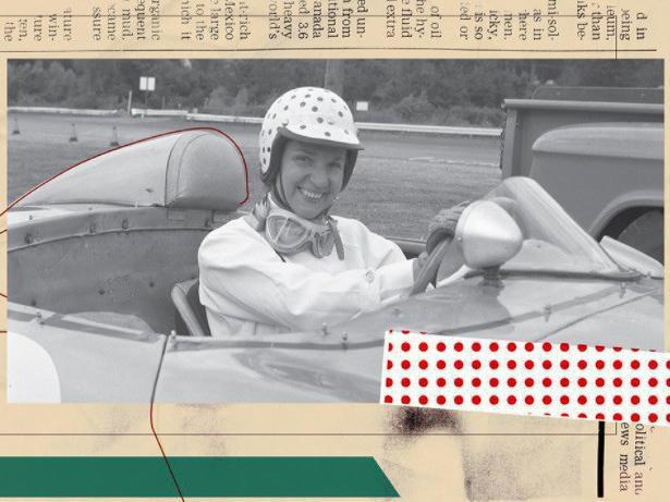 Denise McCluggage posing in car
