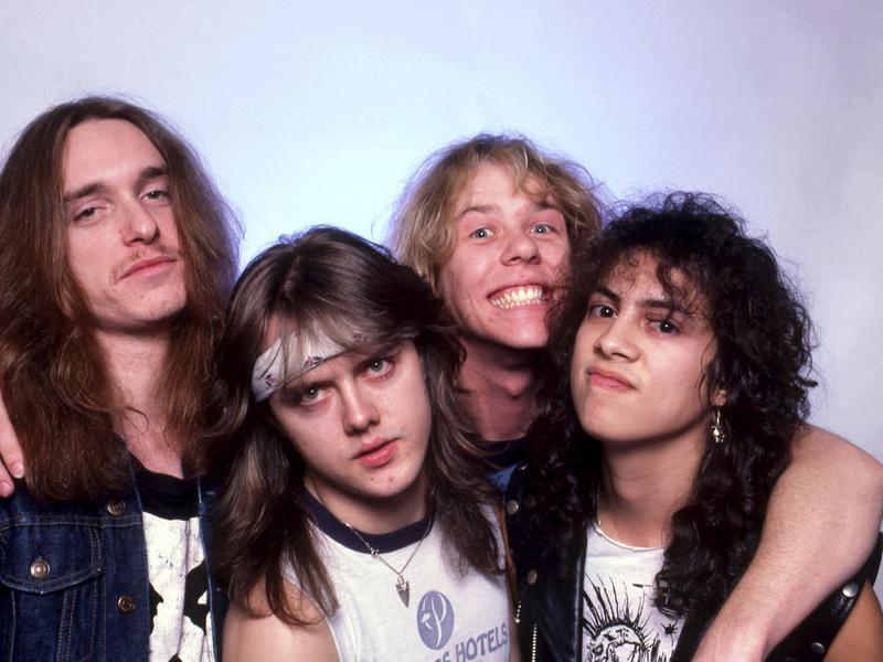 Metallica's Lars Ulrich, James Hetfield, Kirk Hammett and Cliff Burton in 1985