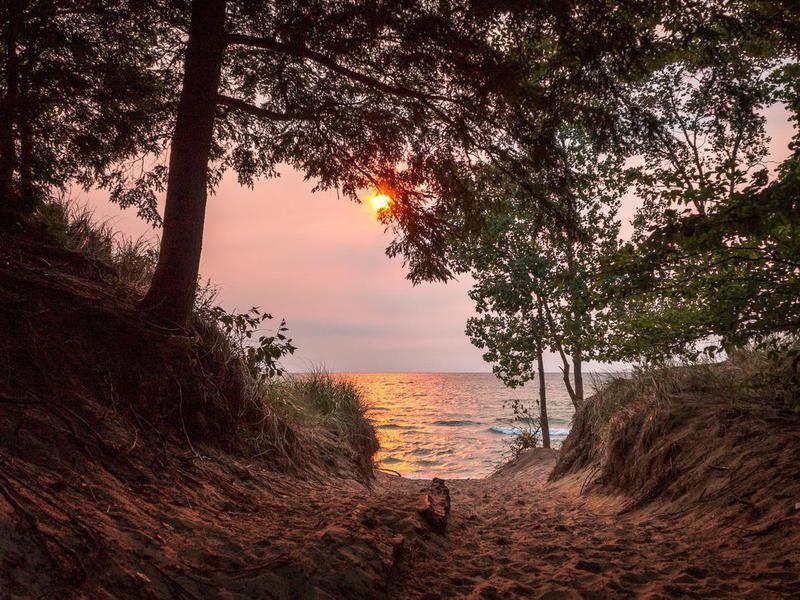 Sunset on Lake Michigan at Saugatuck, Michigan