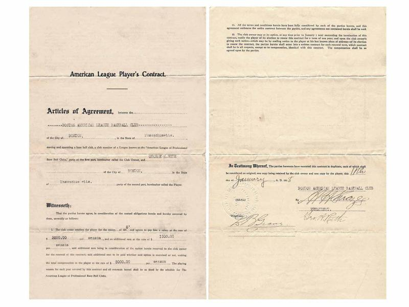 Babe Ruth 1919 contract with Red Sox