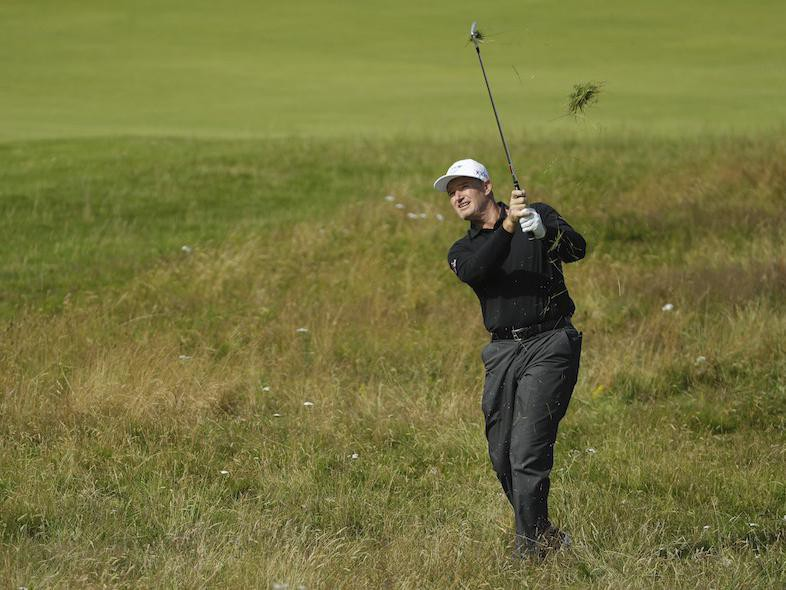 South Africa's Ernie Els plays from rough