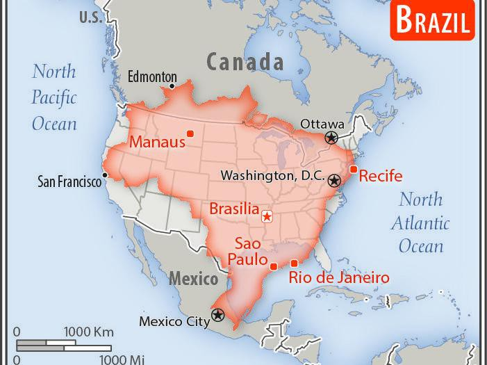 Map comparing Brazil and the U.S.