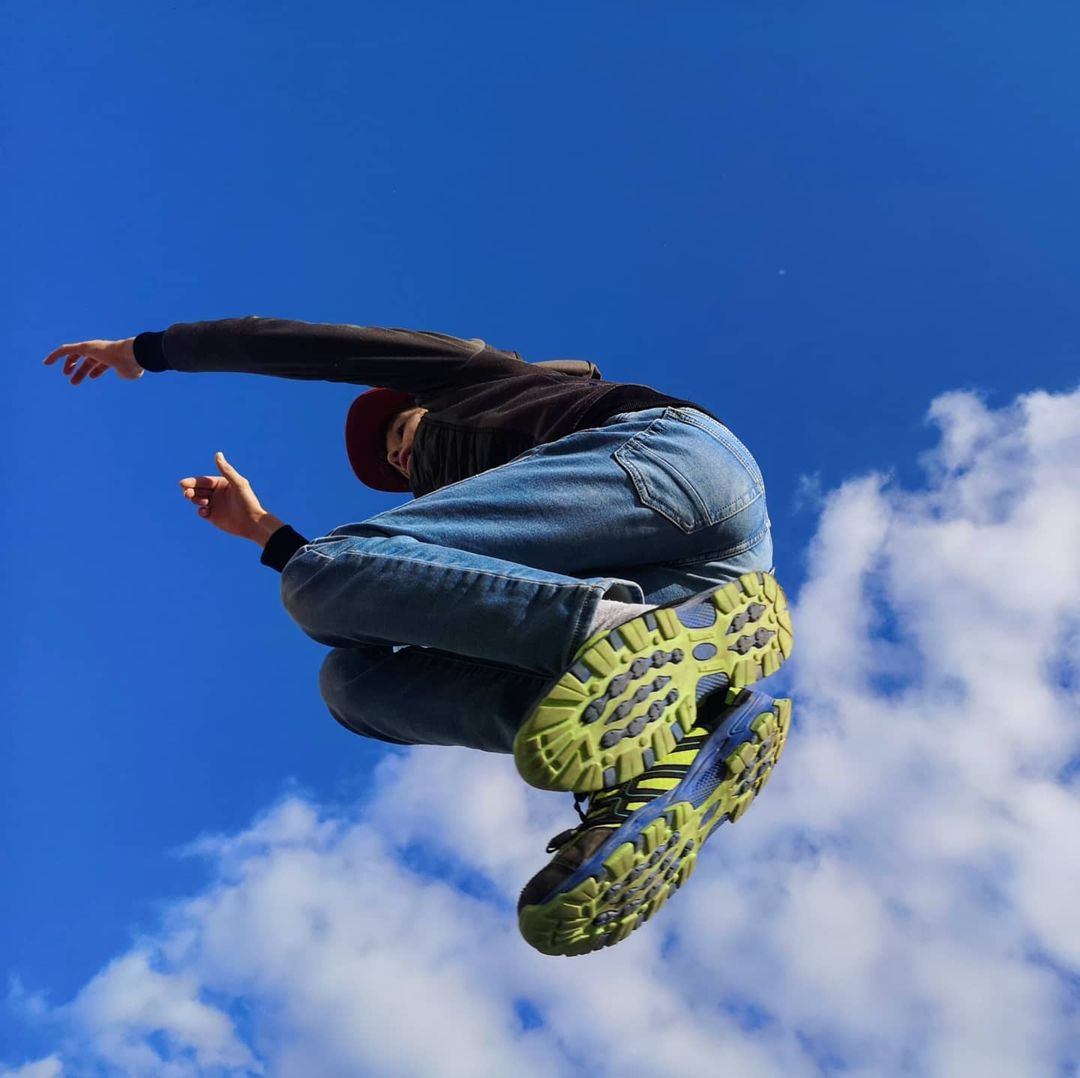Person jumps overhead