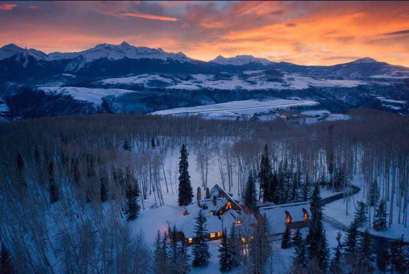 Telluride house at sunset