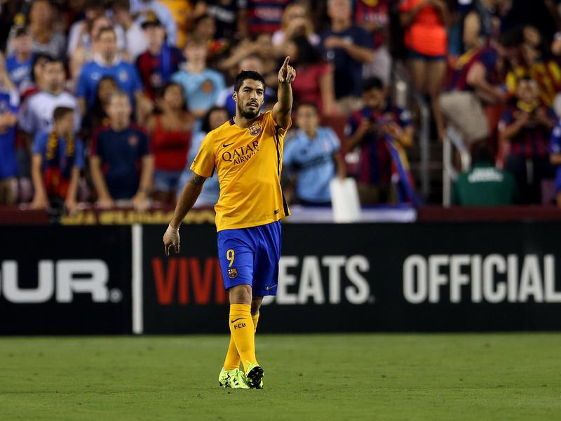 Barcelona forward Luis Suárez celebrates during an International Champions Cup game versus Chelsea.