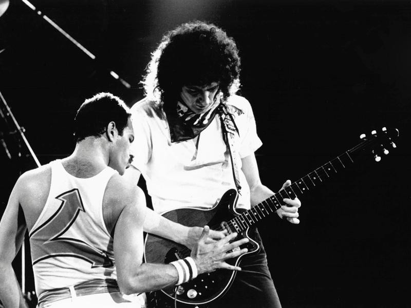 Brian May and Freddy Mercury in 1988