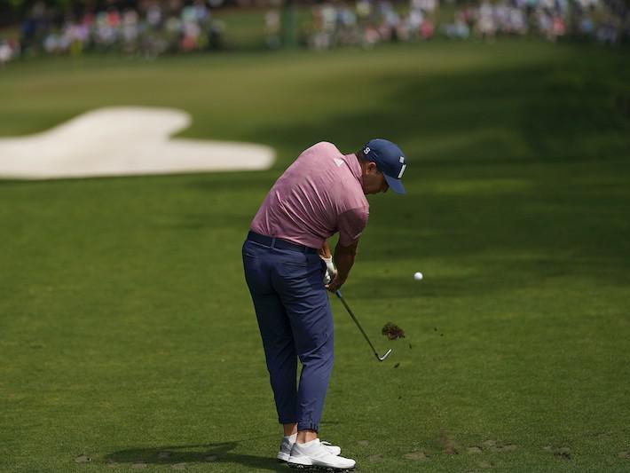Sergio Garcia tees off on the sixth hole