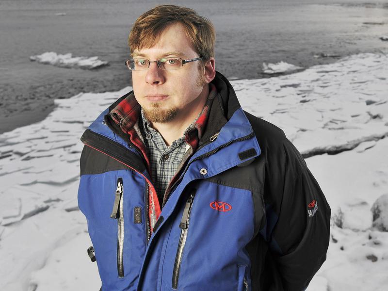 Unemployed man on Lake Superior in Duluth, Minnesota