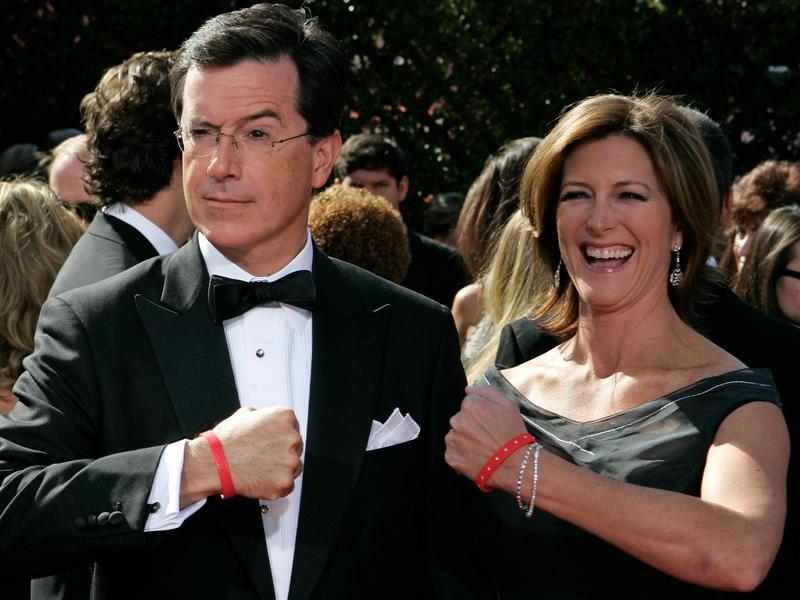 Stephen Colbert and wife Evelyn McGee-Colbert arrive at the Emmy Awards in Los Angeles in  2007.