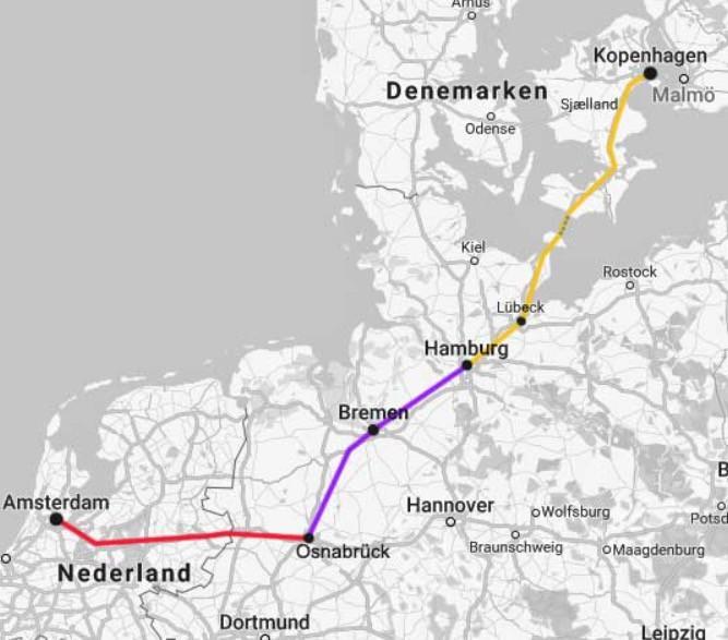 Map from Amsterdam to Copenhagen