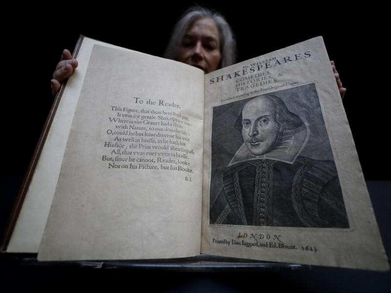 A copy of Shakespeare's First Folio, which sold for $10 million