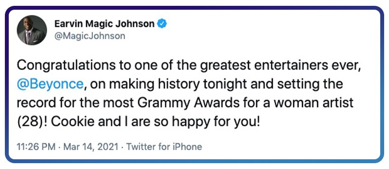 Magic Johnson and his wife, Cookie, are happy for Beyoncé