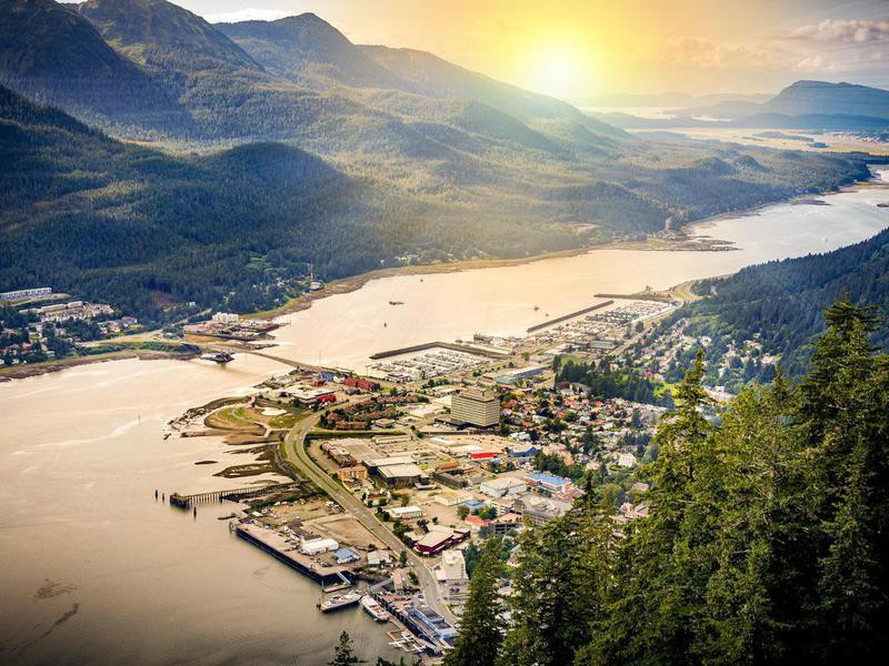 Juneau, Alaska, USA with mountains in the background