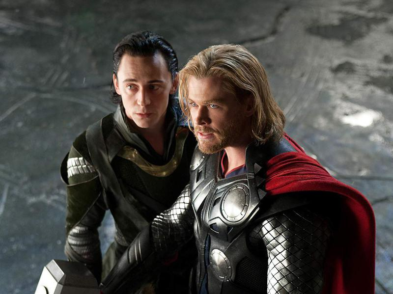 Tom Hiddleston and Chris Hemsworth in Thor (2011)