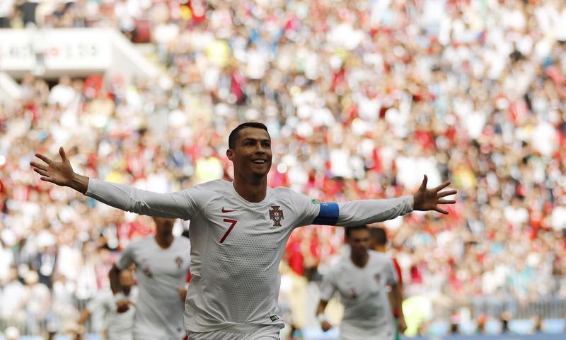 Cristiano Ronaldo of Portugal celebrates after scoring goal