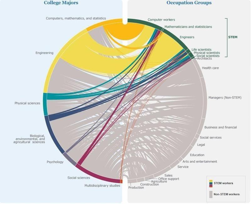 Graph of where male STEM majors work