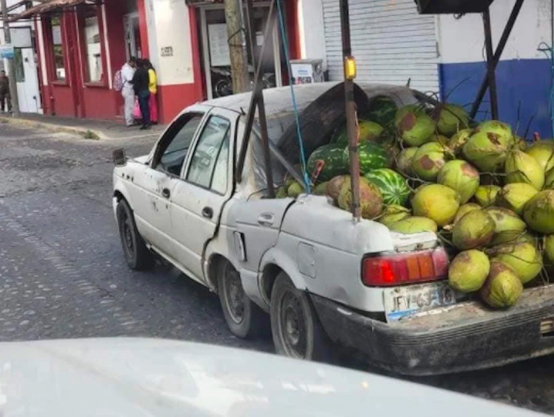 Melons overloaded in a truck