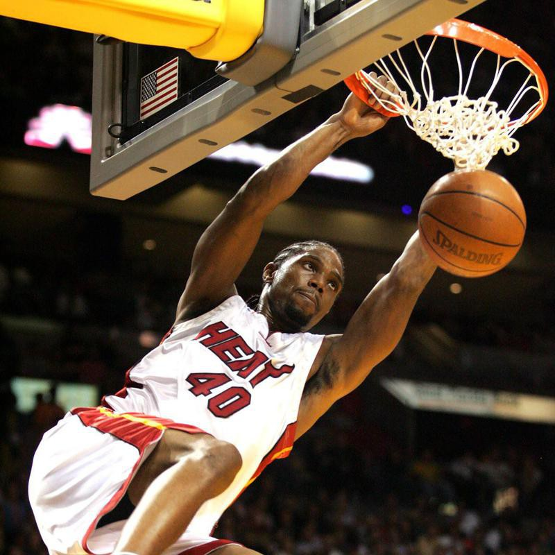 Miami Heat's Udonis Haslem dunks