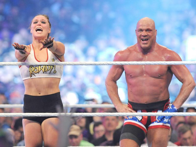 Kurt Angle and Ronda Rousey