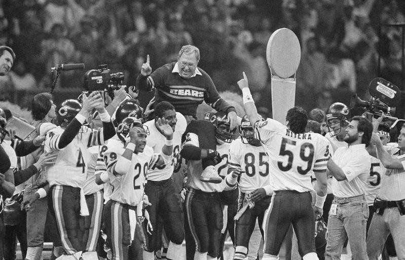 Buddy Ryan carried off field after Chicago Bears win Super Bowl against New England Patriots