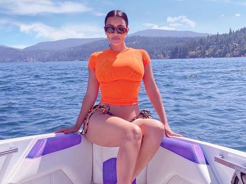 Kim Kardashian on a boat