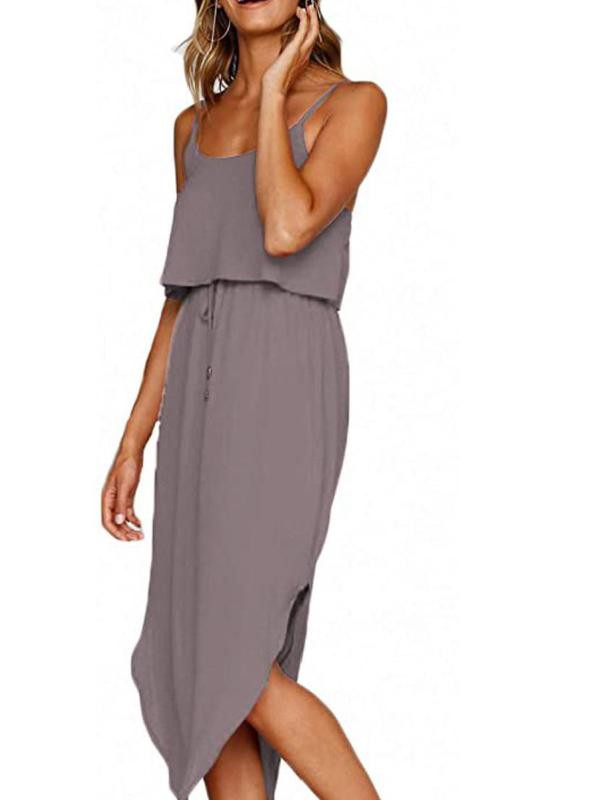 Nerlerolian Women's Adjustable Strappy Split Midi Dress