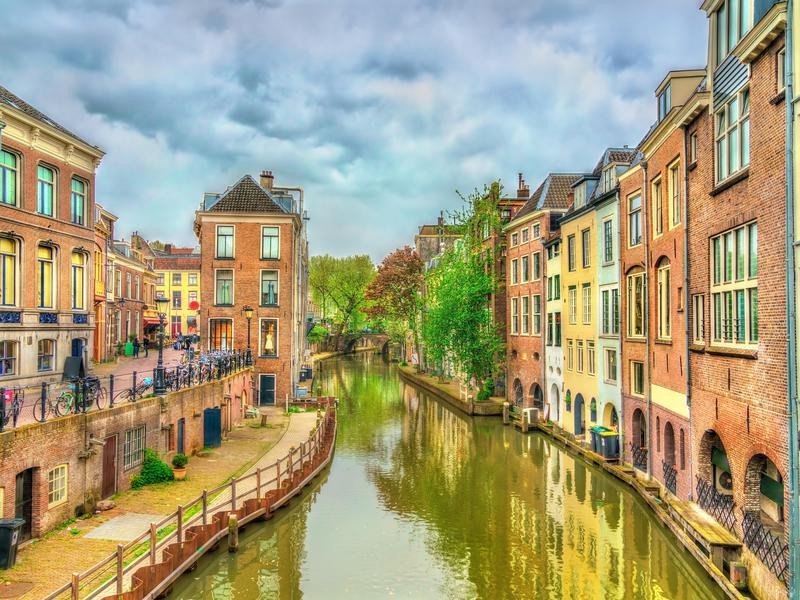 Traditional houses along a canal in Utrecht