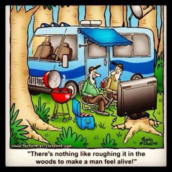 Roughing it in the woods meme