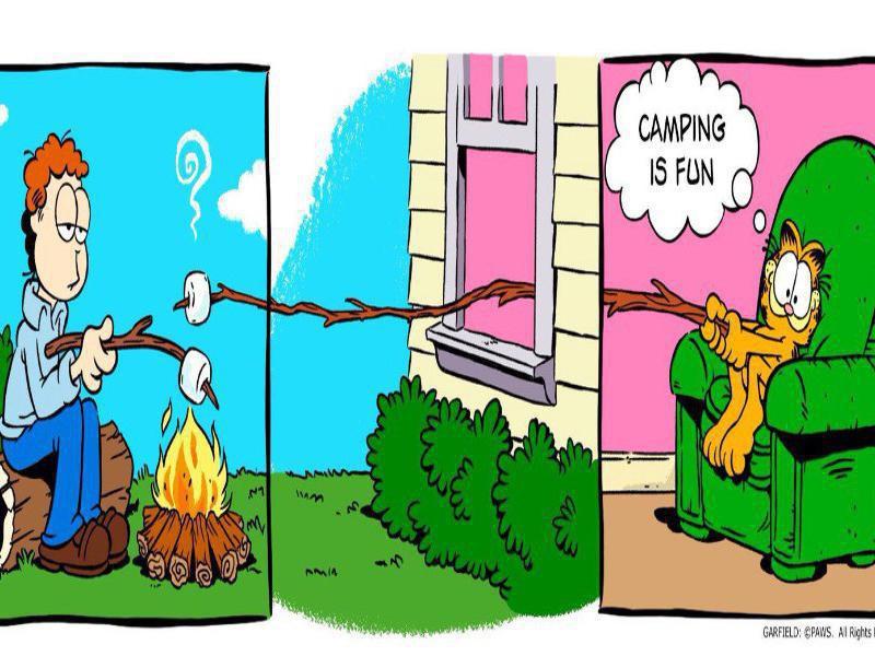 Garfield camping meme