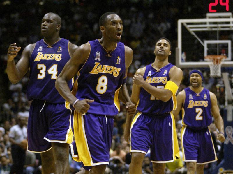 Shaquille O'Neal, Kobe Bryant, Rick Fox, Derek Fisher