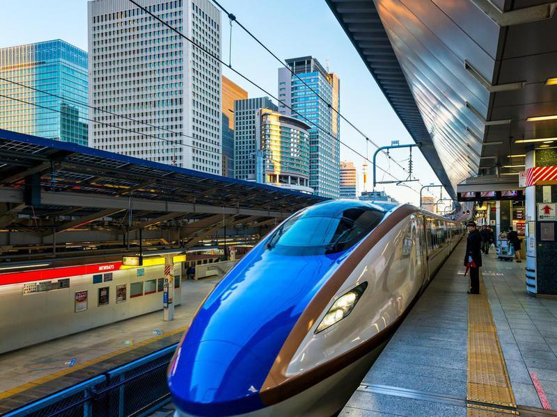 Tokyo, Japan - January 3, 2015: A Shinkansen train pulls into Tokyo Station on January 3, 2015 in Tokyo, Japan.