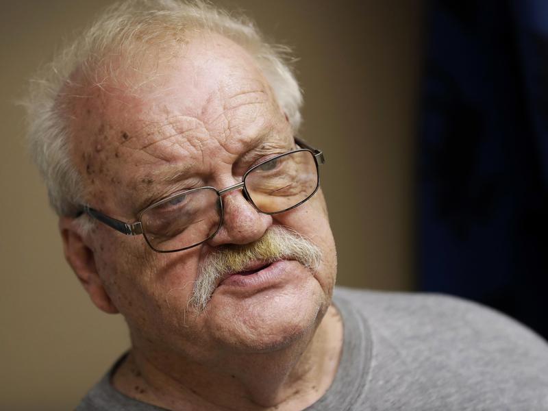 Man at food pantry in Storm Lake, Iowa