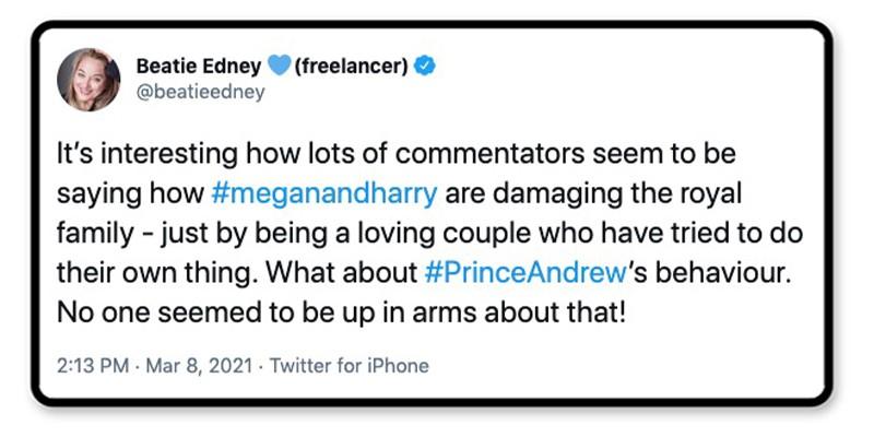 Prince Andrew's behavior